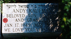 Grave marker of Andy Kaufman Beth David Cemetery